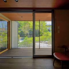 外廊下のある家: 岩田建築アトリエが手掛けたリビングです。