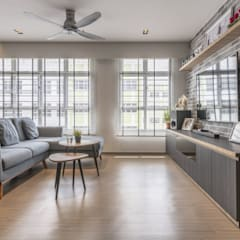 673B Yishun Ave 4 - Modern Scandinavian :  Living room by VOILÀ Pte Ltd,Scandinavian