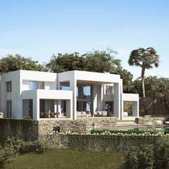 Exterior: Villas de estilo  de ÁVILA ARQUITECTOS