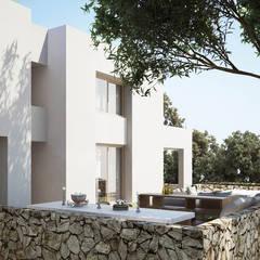 Terraza lateral: Villas de estilo  de ÁVILA ARQUITECTOS