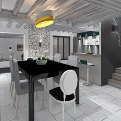 REHABILITATION ANCIENNE GRANGE: Salle à manger de style de style Moderne par AURELIE BENARD ARCHITECTE