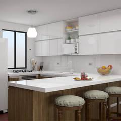 Diseño Interior - Casa campo: Armarios de cocinas de estilo  por Qbico Design, Minimalista Compuestos de madera y plástico