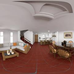 Vista del esespacio en imagen 360°: Salas de estilo  por Qbico Design