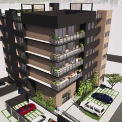 Torre Alma Exterior: Casas multifamiliares de estilo  por Trignum Arquitectura
