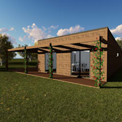 Modelo | T2 123m²: Casas de madeira  por Discovercasa | Casas de Madeira & Modulares