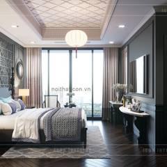 Thiết kế nội thất Penhouse Masteri Millenium - Phong cách hiện đại kết hợp Đông Dương:  Phòng ngủ by ICON INTERIOR