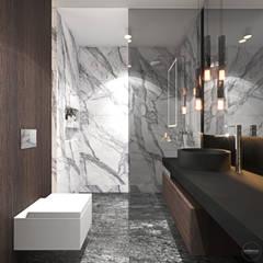 Ciemna łazienka z charakterem: styl , w kategorii Łazienka zaprojektowany przez Ambience. Interior Design