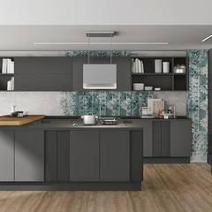 Modelos de cozinhas com ilha , península ou mesa refeições: Cozinhas embutidas  por Area design interiores - cozinhas em Braga