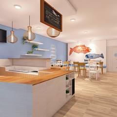 LOX RESTO: Ruang Makan oleh IFAL arch, Country Kayu Wood effect