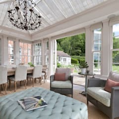 Elegant Georgian orangery with separate side entrance adjoining the home.:  Conservatory by Vale Garden Houses