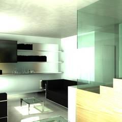 Trap als opvallend element van de woonkamer:  Woonkamer door MEF Architect