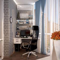"""Дизайн балкона в стиле модернизм в квартире в ЖК """"7 континент"""", г.Краснодар: Рабочие кабинеты в . Автор – Студия интерьерного дизайна happy.design"""