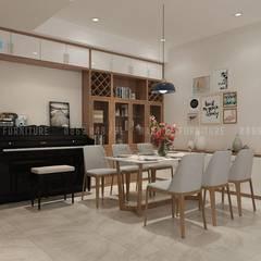 Khu vực bàn ăn của căn hộ chung cư:  Phòng ăn by Công ty TNHH Nội Thất Mạnh Hệ