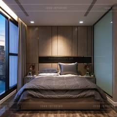 THIẾT KẾ NỘI THẤT CĂN HỘ VINHOMES GOLDEN RIVER - Tách Capuchino ấm áp:  Phòng ngủ by ICON INTERIOR