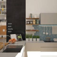 Cucina a vista con penisola: Cucina attrezzata in stile  di Michela Munns Design