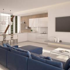 Diseño del proyecto de una vivienda moderna:  Santa María 23: Cocinas integrales de estilo  de AVANTUM