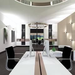 Bureau met kabelgoot:  Kantoor- & winkelruimten door VAN VEEN Interior Design