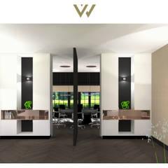 Ensuitekasten met taatsdeur:  Kantoor- & winkelruimten door VAN VEEN Interior Design