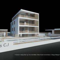 Wohnhaus - Mehrgenerationenwohnen - Ansicht von Südosten:  Mehrfamilienhaus von iDlabs Studio für Architektur + Design