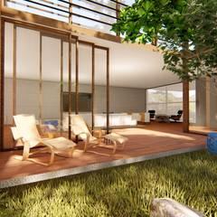pátio interno: Jardins de fachadas de casas  por Bonomiveras Arquitetura Urbanismo e Interiores