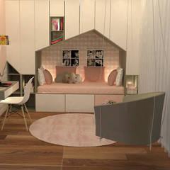 Um quarto onde há espaço para tudo...: Quartos de rapariga  por Casactiva Interiores
