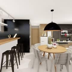 sala de jantar e cozinha integrada: Salas de jantar industriais por Bonomiveras Arquitetura Urbanismo e Interiores