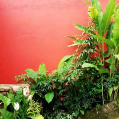 Jardines en la fachada de estilo  por Oria Arquitetura & Construções