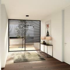 Moradia Unifamiliar - Gondomar - Tipologia T3 Corredores, halls e escadas modernos por EsboçoSigma, Lda Moderno