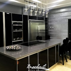 Cocina principal, técnica Rayas Chic ©: Paredes de estilo  por Brochart pintura decorativa