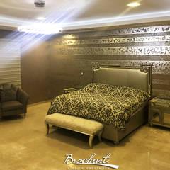 Dormitorio principal, técnica Espejo de Plata y Lino 3D ©: Paredes de estilo  por Brochart pintura decorativa