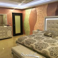 Dormitorio secundario, técnica Corteza 3D y Esfumado Acuarela ©: Paredes de estilo  por Brochart pintura decorativa