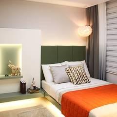 부산 모델하우스 세팅, 모던&컨트리 스타일의 믹스매치 – 노마드디자인: 노마드디자인 / Nomad design의  침실