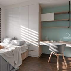 客臥:  臥室 by 極簡室內設計 Simple Design Studio