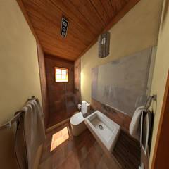 pousada e restaurante: Banheiros rústicos por DE Arquitetura e Decoração