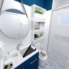 Apartamento Residencial - 24m²: Banheiros rústicos por Fareed Arquitetos Associados