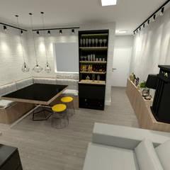 Fareed Arquitetos Associados: endüstriyel tarz tarz Yemek Odası