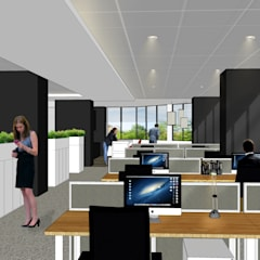 INTERIOR DESIGN FOR OFFICE AT INTERNATIONAL PLAZA:  Office buildings by RSDS Architects,Modern