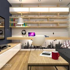 Dom pod Warszawą : styl , w kategorii Domowe biuro i gabinet zaprojektowany przez ANNA HIRSZBERG 'HIRSZBERG' PRACOWNIA ARCHITEKTONICZNA