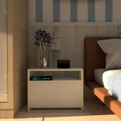 Loft de Praia: Quartos  por Norte Arquitetura e Interiores,Mediterrâneo Madeira Efeito de madeira