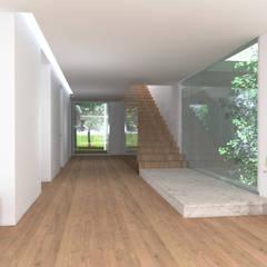 Moradia Unifamiliar – Viela dos Longos, Sintra [2018]: Corredores e halls de entrada  por núcleo B arquitetos