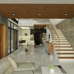 Proposed 3-Storey Residence in BGC Taguig:  Living room by Structura Architects