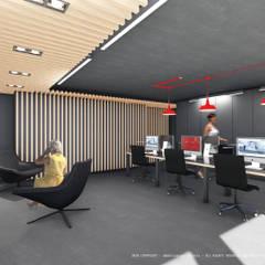 Sala de trabalho com conceito open space: Escritórios e Espaços de trabalho  por OGGOstudioarchitects, unipessoal lda