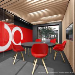 Sala de reuniões de design contemporâneo: Escritórios e Espaços de trabalho  por OGGOstudioarchitects, unipessoal lda