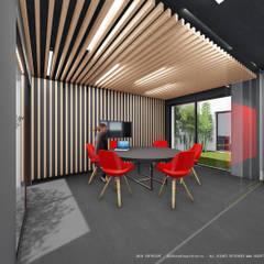 Pavimento com aparência de betão combinado com madeira clara: Escritórios e Espaços de trabalho  por OGGOstudioarchitects, unipessoal lda