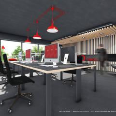 Espaço de trabalho com apontamentos vermelhos: Escritórios e Espaços de trabalho  por OGGOstudioarchitects, unipessoal lda