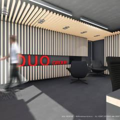 Sede da empresa Duo Group Corredores, halls e escadas industriais por OGGOstudioarchitects, unipessoal lda Industrial Madeira Acabamento em madeira