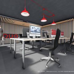 Área de trabalho em open space: Escritórios e Espaços de trabalho  por OGGOstudioarchitects, unipessoal lda