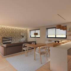 OPEN SPACE : Salas de jantar  por 7eva design  - Arquitectura e Interiores