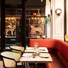 Tables en céramique Raku pour le restaurant Astair: Restaurants de style  par Fabienne L'Hostis SASU