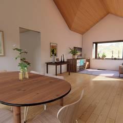 Diseño de vivienda campestre 120 m2: Comedores de estilo  por Ekeko arquitectura  - Coquimbo